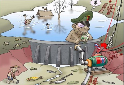 irrawaddy cartoon. burmese dam